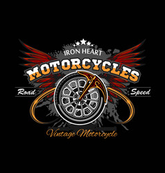 wheel and wings - motorcycle wheel vector image