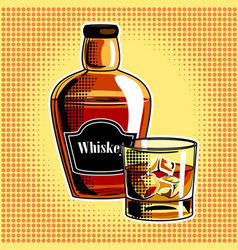 Whiskey alcohol drink pop art vector