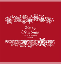 white snowflake frame red background xmas design vector image