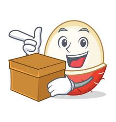 With box rambutan character cartoon style vector