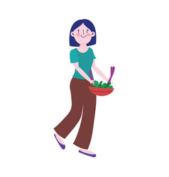 young woman with salad in bowl character isolated vector image