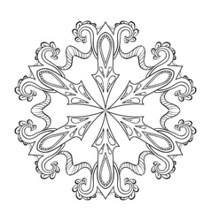 zentangle snow flake mandala for adult coloring vector image