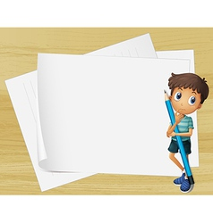 A kid holding a pencil beside the empty papers vector image
