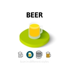 Beer icon in different style vector image