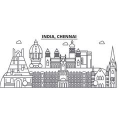 chennai india architecture line skyline vector image