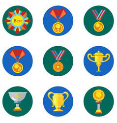 icons cups awards medals in the flat style vector image