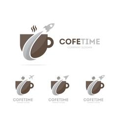 rocket and coffee logo combination vector image vector image