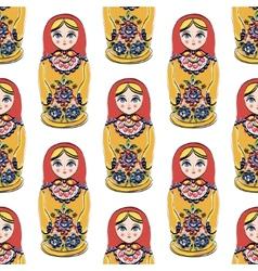 Seamless colorful retro Russian Doll vector image