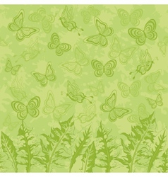 Seamless pattern leaves and butterflies vector image