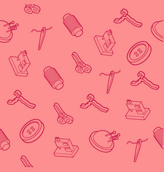 Sewing flat outline isometric pattern vector