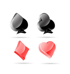 3d glossy playing card symbols with vector image