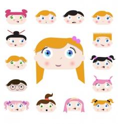 cartoon kids face vector image