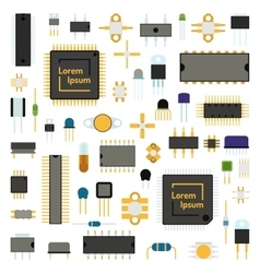 Circuit computer chips icons technology vector image