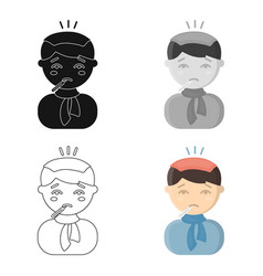 fever icon cartoon single sick icon from the big vector image vector image