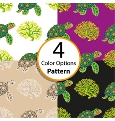 Four seamless pattern with tropical turtle vector image vector image