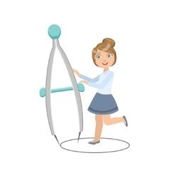 Girl in school uniform with giant compasses vector