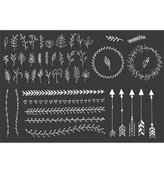 Hand drawn vintage arrows feathers floral vector image vector image