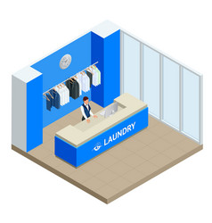 isometric laundry reception concept laundry vector image vector image