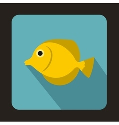 Yellow Tang fish Zebrasoma flavescens icon vector image