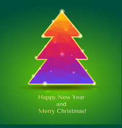 Christmas tree with glitter and flashes new year vector