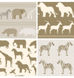 Collection of african animals patterns vector image