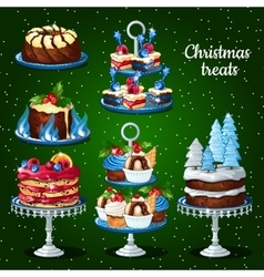 Great set of desserts for the Christmas holidays vector image vector image