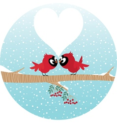 Loving birds on a branch vector image vector image