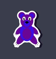 Paper sticker on stylish background toy bear vector
