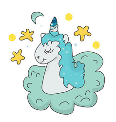 the cute magic unicorn and fairy elements vector image