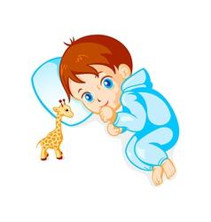 Baby boy and giraffe toy vector image vector image