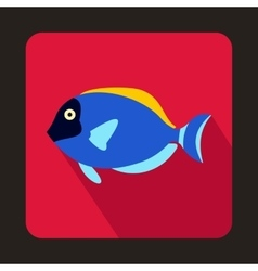 Blue surgeon fish icon flat style vector image