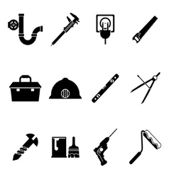 Building Equipment Icons and Construction Tools vector image vector image