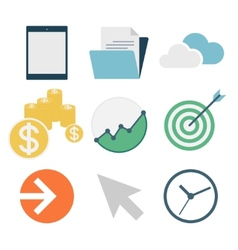 business icons flat design vector image vector image