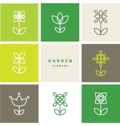 Flowers - set of flowers - decorative design line vector