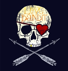 love bandit skull vector image vector image