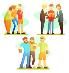 Man friendship three colorful vector