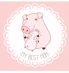 My best mom background with cute pigs vector image