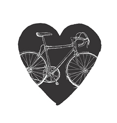 Vintage Bicycle in Heart vector image