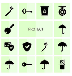 14 protect icons vector image