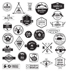 30 Hand sketched Vintage style logos vector image