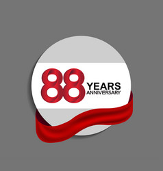 88 years anniversary design in circle red ribbon vector
