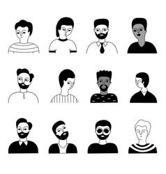 A multicultural set men faces vector