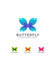 abstract colorful butterfly logo icon set vector image