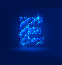 Abstract glowing letter e on dark blue background vector