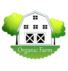 An organic farm label with a wooden house vector