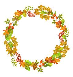 Autumn of fall leaf foliage wreath design vector