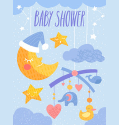 baby shower invitation template with toy mobile vector image