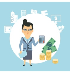 Bank employee counts money vector