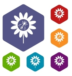 Bee on flower icons set vector