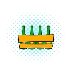 Beer wooden box icon comics style vector image